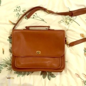 Brown leather coach bag briefcase